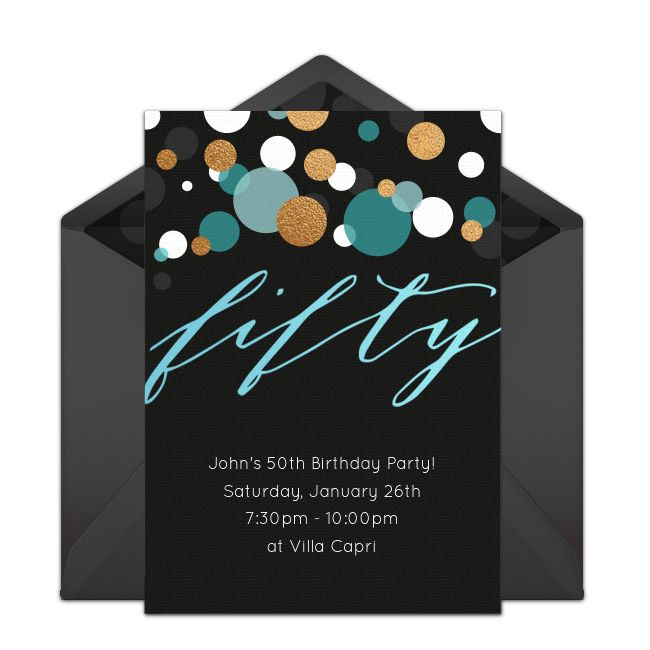Customizable, free Fifty online invitations. Easy to personalize and send for a 50th birthday party. #punchbowl