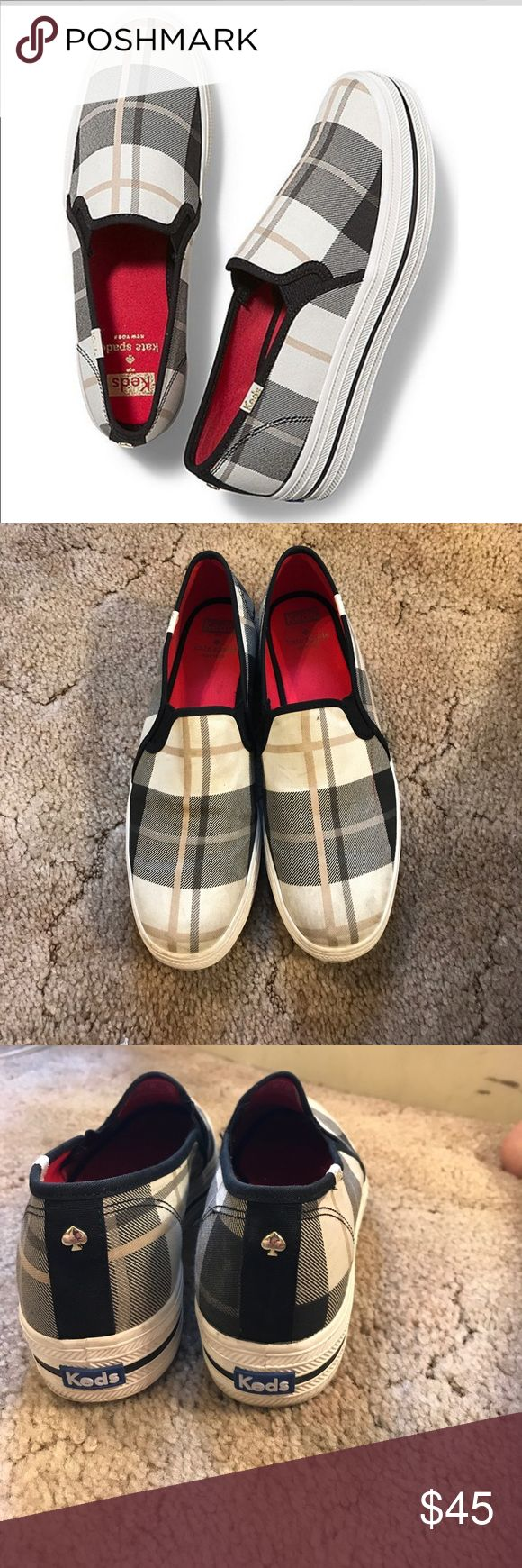 Kate Spade Keds Slip ons Gently used Slip on. Some on wear on top of toes but I haven't tried to clean them. Always worn with socks so no stinky smell. Excellent condition and great for fall! kate spade Shoes Sneakers