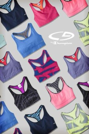 Workout in technicolor with C9 by Champion color pop sports bras.