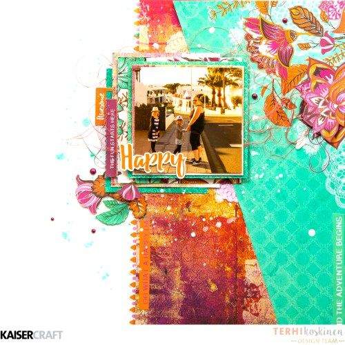 'Happy' Layout by Terhi Koskinen Design Team member for Kaisercraft Official Blog Group Post Featuring their May 2017 collection Bombay Sunset. Learn more at kaisercraf.com.au/blog ~ Wendy Schultz ~ Scrapbook Layouts.