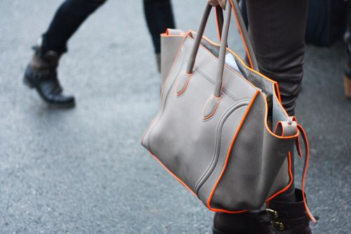 neon trimming celine bag: Orange, Handbags, Celine Bags, Style Inspiration, Neon, Street Style, Beautiful, Grey, Accessories