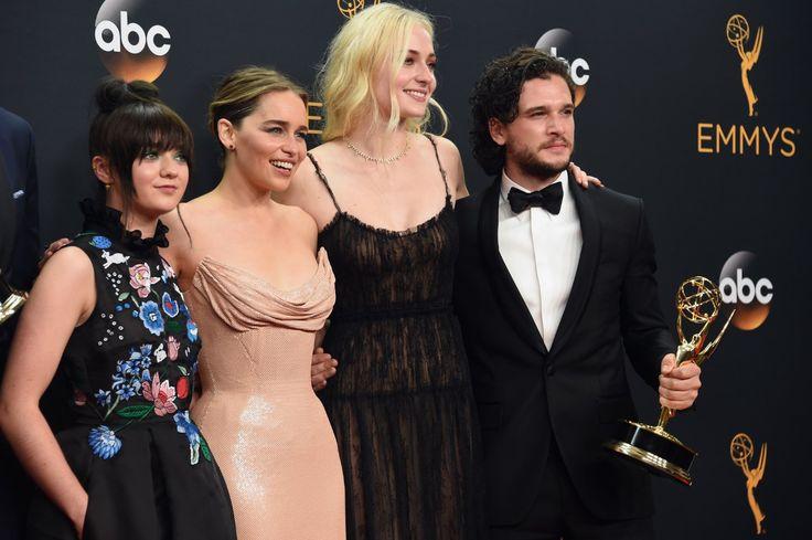 Kit Harington, Maisie Williams, Emilia Clarke, and Sophie Turner at The 68th Primetime Emmy Awards (2016)