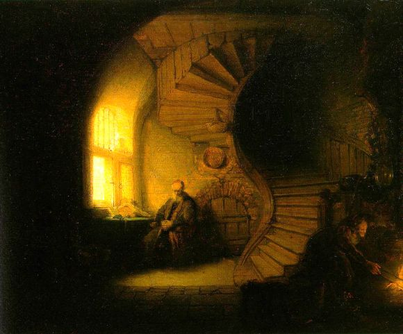 Rembrandt. A Philosopher in Meditation. Again, two small sources of light and still very strong shades of darkness.