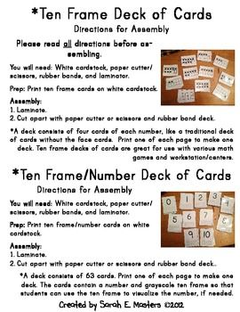 Here's a set of ten frame tools that includes ten frame posters, demonstration ten frames, personal ten frame sets for students, ten frame deck of cards, and a number of suggestions for using these materials.