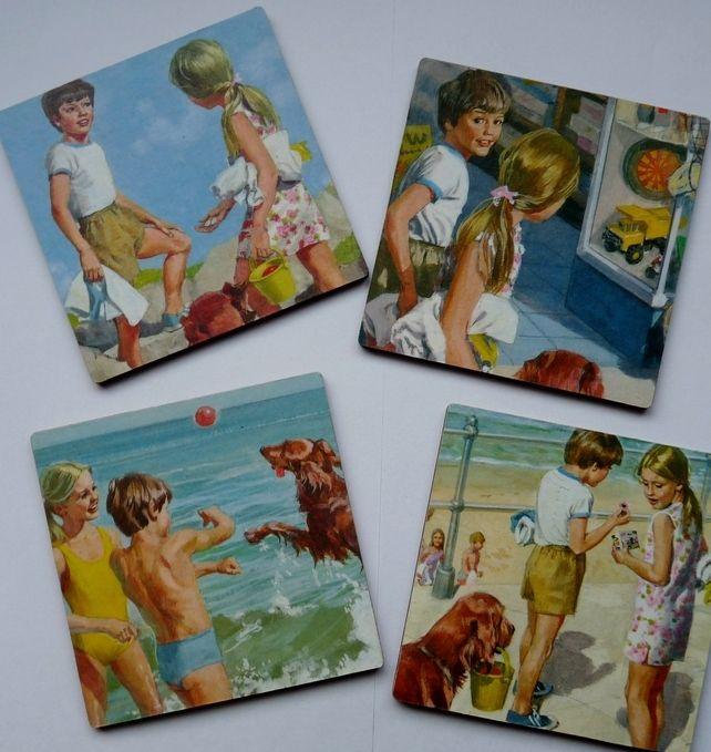 Retro Style Coasters (set of 4) - Upcycled Ladybird books £6.00