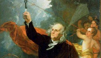 凧を使って雷が電気であることあることを開明した。偉大なベンジャミン・フランクリン