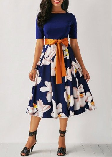 Flower Print Belted Navy Blue Dress on sale only US$32.31 now, buy cheap Flower ... 17