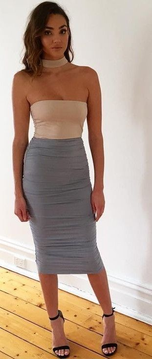 c96a3eea75 #Fashion Summer Style : #summer #kookai #australia #outfits | Nude Top +  Ruched Grey Midi Skirt