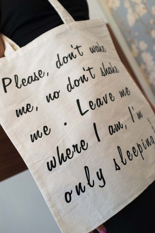 Tote bag I'm only sleeping The Beatles Black and by arceb