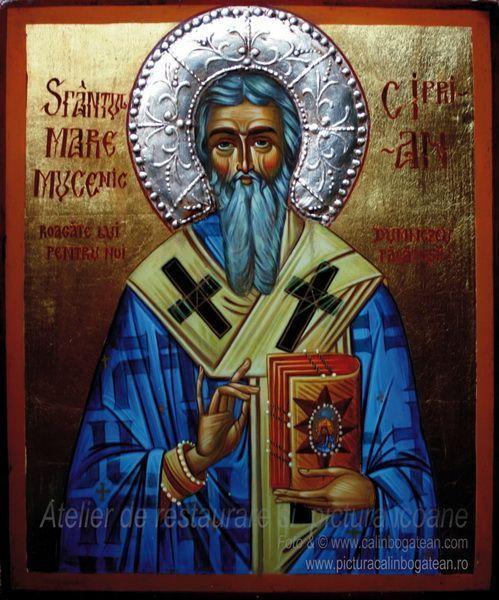 Sfântul mare mucenic Ciprian icoană pe lemn pictură tradițională bizantină  ortodoxă icoană originală lucrare de artă iconografică pictură în tempera pe lemn pictată de pictorul Călin Bogătean un urmaș al vechilor iconari pictor profesionist membru al Uniunii Artiștilor Plastici icoană pe lemn cu Sfântul Ciprian pictură pe lemn cu Sfântul mare mucenic Ciprian
