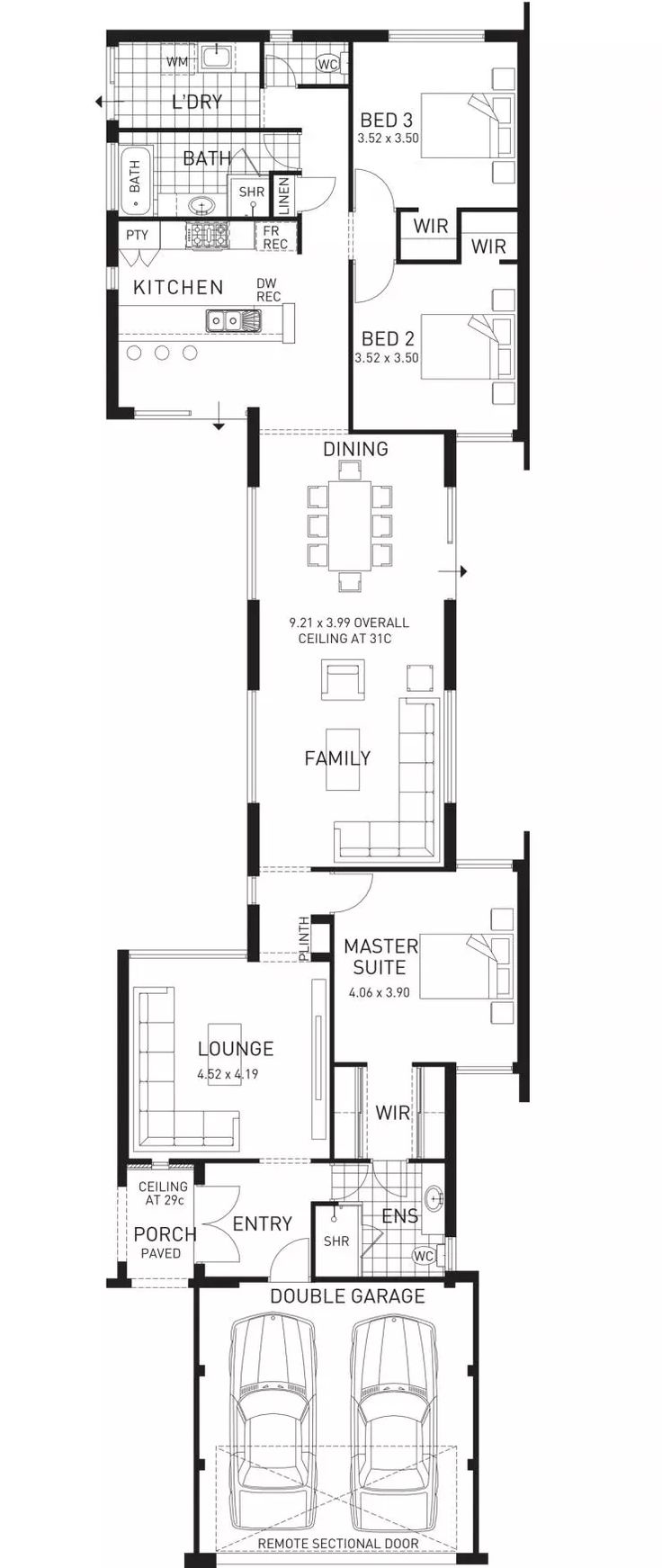 Colonnade, Single Storey Narrow Home Floor Plan, WA