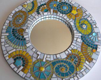 turquoise yellow round mosaic mirror valentines day abstract mirror home decor wedding - Fantastisch Badezimmereinrichtung