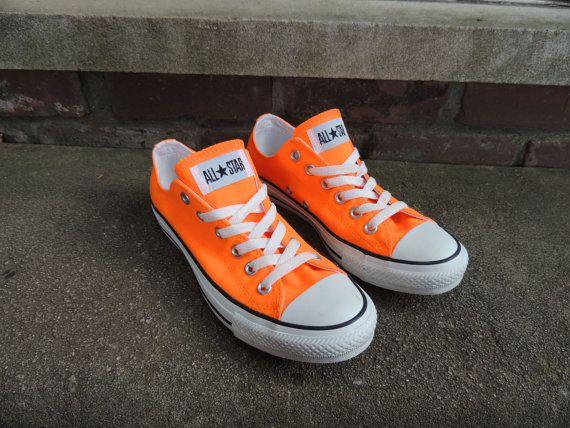 Bright Orange Converse Shoes Size US 8 EUR by OanaVintageCorner