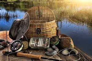 Traditional fly fishing equipment