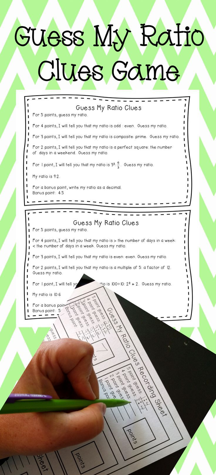 Students will enjoy practicing ratios while you give them clues in this game.  Then they get to create their own game!