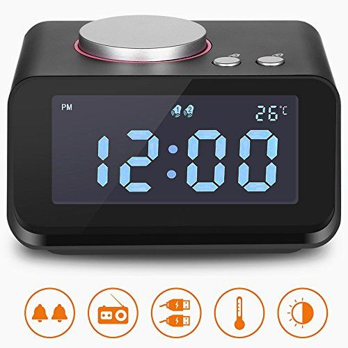 Alarm Clock,Clock Radio with Dual USB Charging Ports,6 Levels Adjustable Brightness 2 Groups of Alarm Time,Loud Alarm Clock,Digital Alarm Clock Radio for Heavy Sleepers,Music Speaker - MORE THAN AN ALARM CLOCK. Combined with FM Radio and Music Player function, our alarm clock is beyond your imagination! With a maximum of 20 memory channels, the FM Radio Play supports automatic searching to get your favorite radio show. While Music Play function can be realized by the build-in A...