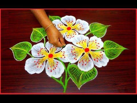 easy free hand rangole designs * simple rangoli with out dots * flower kolam *muggulu * rangavalli - YouTube