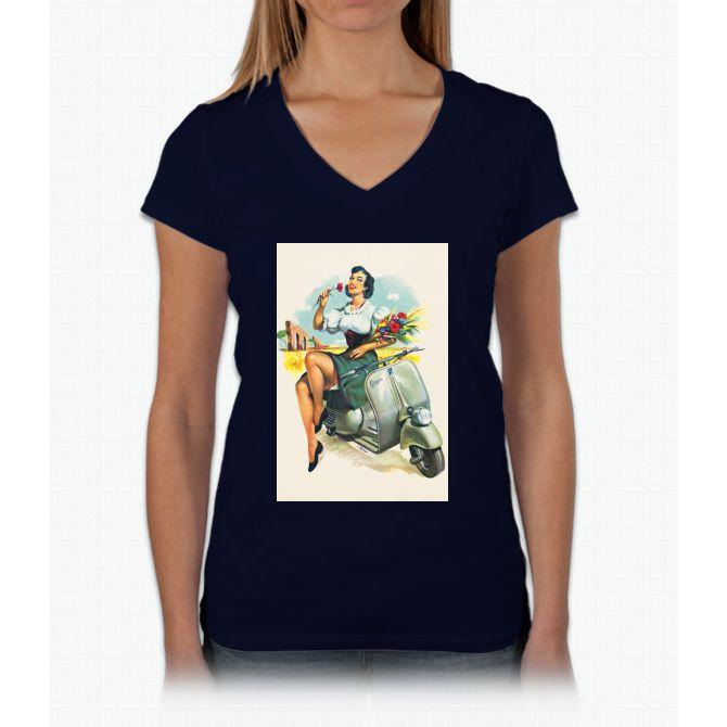 Girl, Flower & Scooter Vespa Womens V-Neck T-Shirt