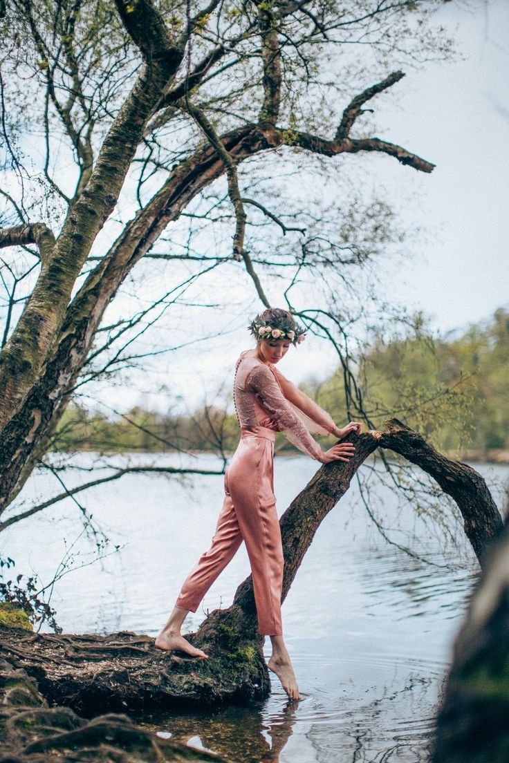 Middlemist Wedding Jumpsuit - Organic silk jumpsuit with lace back and sleeves by award-winning bridal designer Sanyukta Shrestha