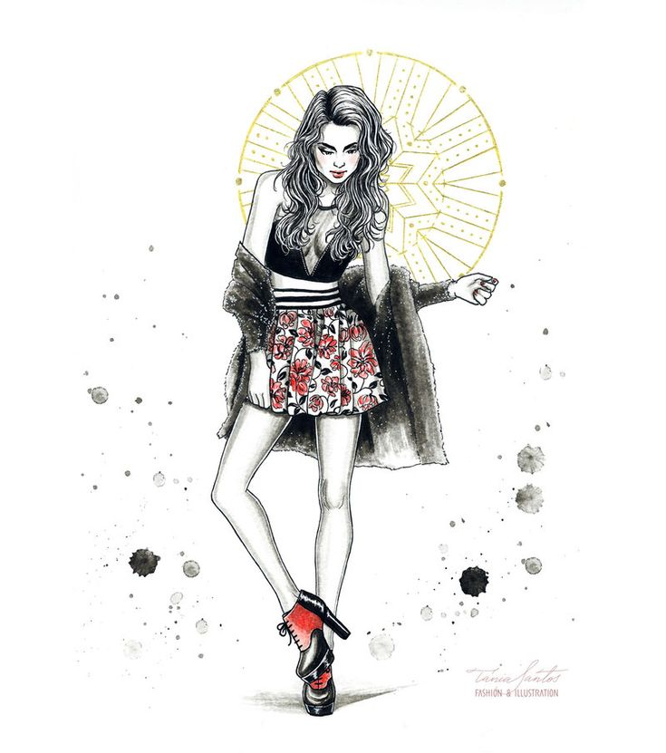 Fashion illustration with another Carla Lima Shoes. Done with watercolors and golden gel pen. To see Carla-lima Shoes, check her site: carlalimashoes.com 2014