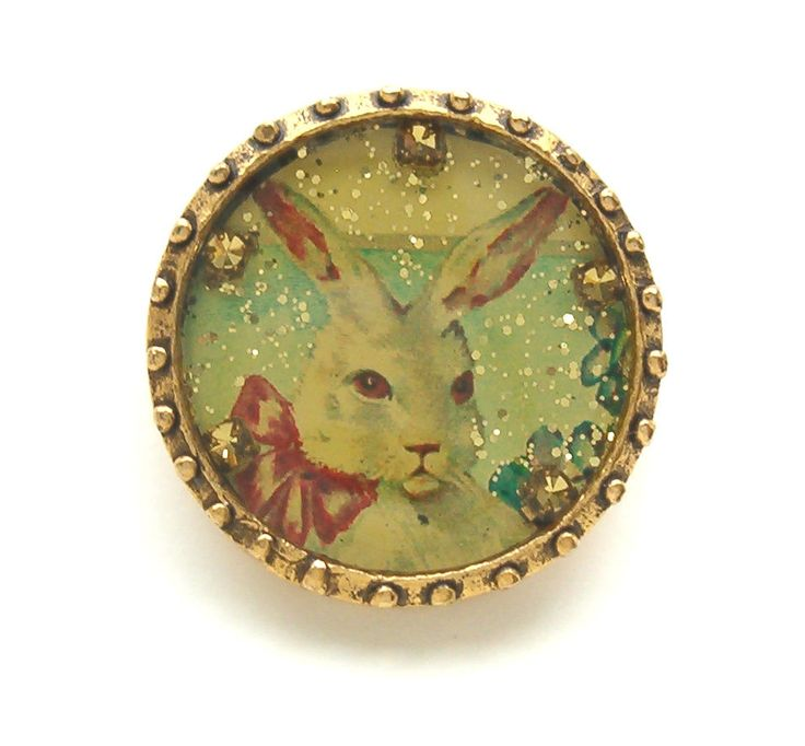 Maximal Art Pin Vintage Easter White Bunny Basket Eggs Gold John Wind Jewelry #MaximalArt