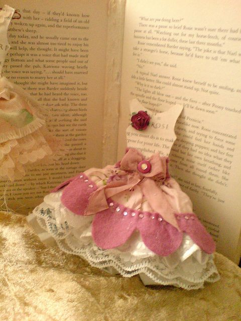 Card- May use on a card but can be a bookmark   or  whatever, just use paper and ribbons for the dress, use cardboard for the top.