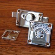Love this polished nickel vacant/engaged lock!