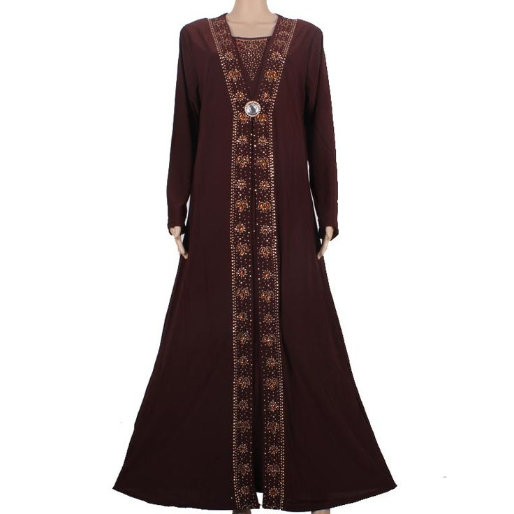 Islamic Clothing for Women Muslim Abaya Dress Beading Design Modest Jilbabs and Abayas Kaftan Dress Coffee 8358