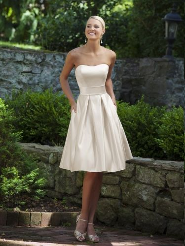 Glamorous sleeveless A-line tea-length bridesmaid dress