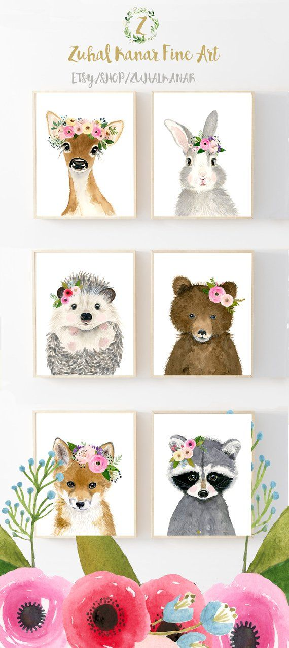 Flower crown baby woodland animals, Woodland animals print set, Set of 6 Prints, racoon, hedgehog fox, deer, rabbit, nursery prints