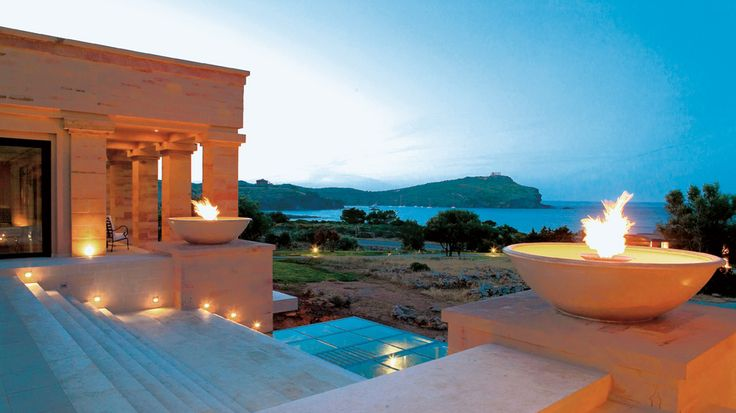 Cape Sounio 5 star Hotel.   Relax at the most stylish lounge bar in Athens overlooking the Temple at Sounio.  #athens #attica #capesounio #luxuryhotels #luxuryhotelathens #5starhotels #5starhotelathens