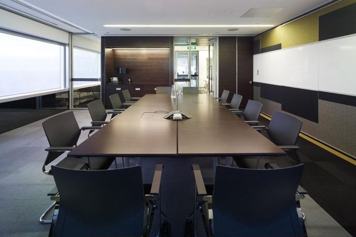 DL Piper, Perth. Boardroom with carpeted wall treatment and white board. Brilliant!