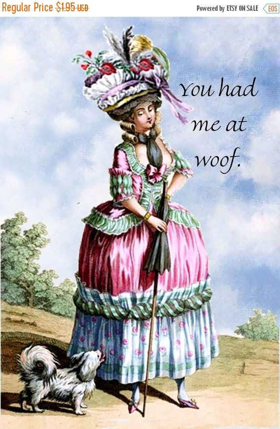 Spring Sale 2017 Dog Lover Gifts. Woof. Dog. Dogs. Marie Antoinette. Marie Antoinette Card. Postcard. Dog Card. Doggie. Puppies.Marie Antoin