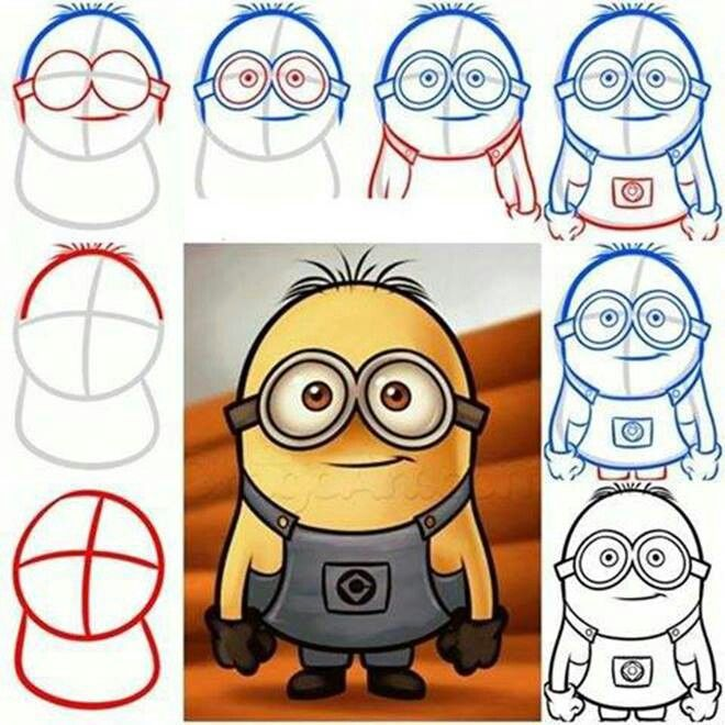 Minions apprendre dessiner how to draw pinterest minions draw and how to draw - Minion a dessiner ...