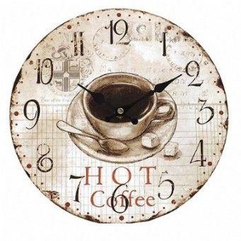 #Relógio de Parede Hot Coffee Oldway Valor: R$ 32,59 Comprar: www.carrodemola.com.br/produtos/622/relogio-parede-hot-coffee-oldway-mdf-29-cm #wallclock #decoração #Pin_it  #coffe