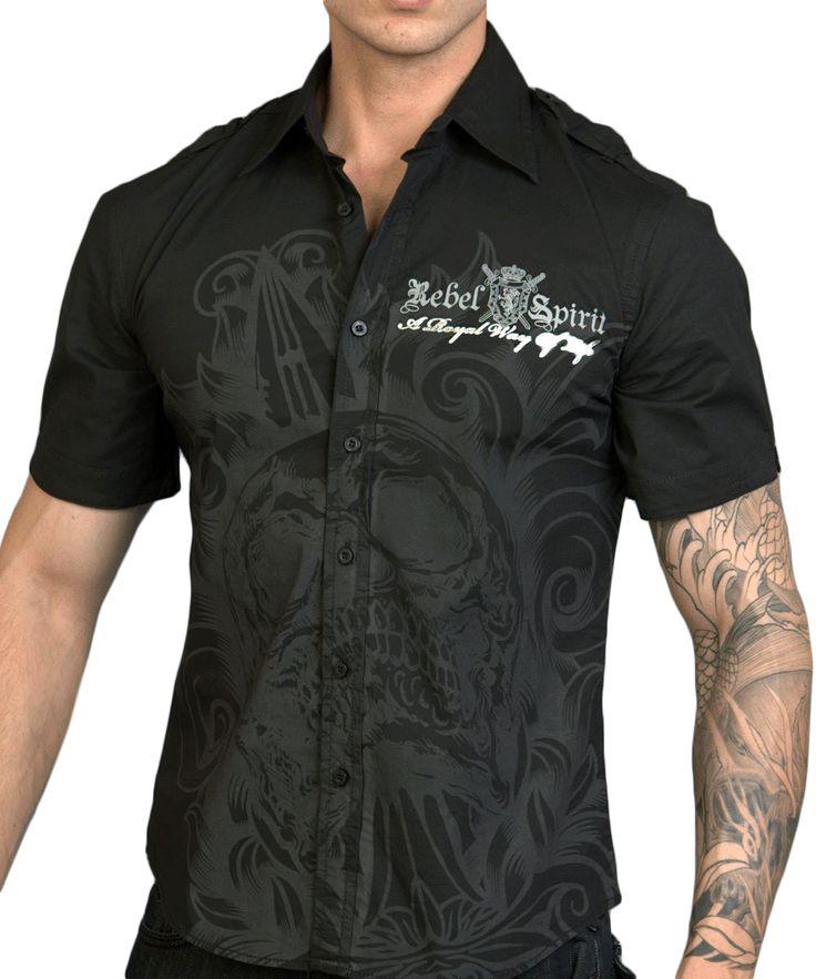 Pánská košile Rebel Spirit lebka s dýkou (černá).