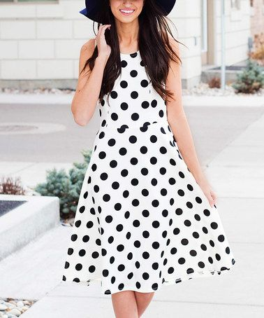 Another great find on #zulily! White & Black Polka Dot A-Line Dress #zulilyfinds