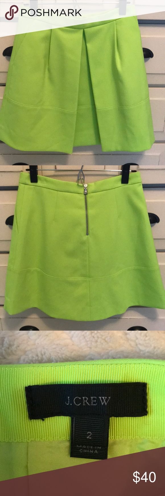 "J. Crew Neon Yellow skirt Flared neon yellow skirt from J.Crew. Length: 18"" only worn once - like new condition! J. Crew Skirts Mini"