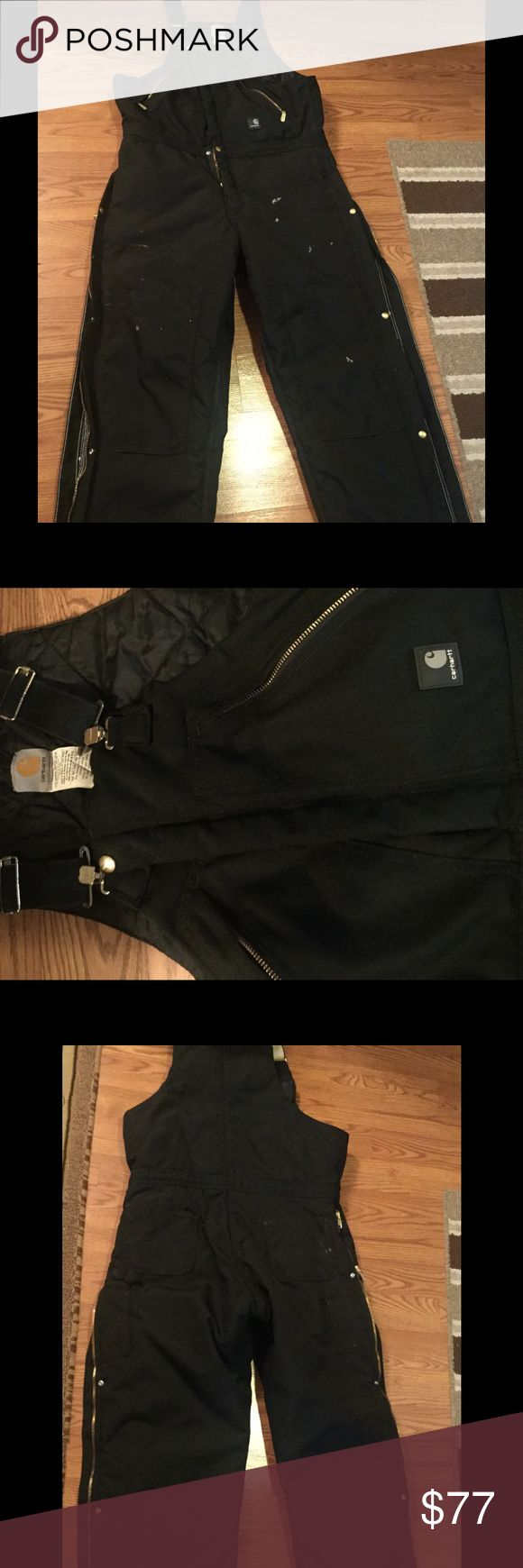 Carhartt Extreme Men Bib overalls Carhartt Extreme Zip to waist Biberall / Arctic Quilt lined insulated. Men's size 36/32,Cordura, Nylon,Poly/Nylon lining,Water Repellent color Black retail Price $134.99 without tax. Was only worn twice by my son he's a Commercial Plumber it has several spots on it from outside plumbing as shown in pictures,there's no tears, Other than the spots it's still like brand new and fluffy like first bought. Carhartt Extreme Other