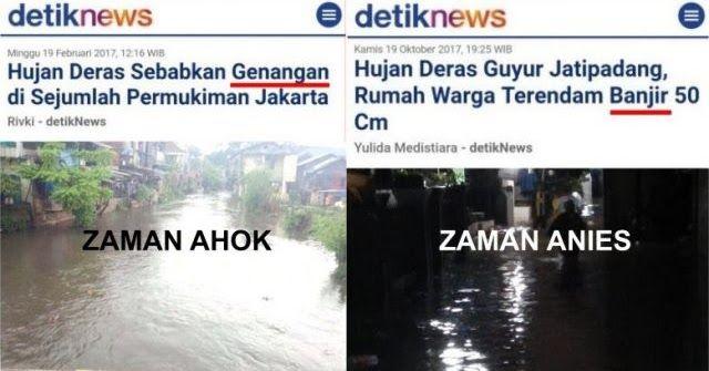 "Media Ohh Media; Zaman Ahok Disebut ""Genangan"", Zaman Anies Langsung Disebut ""Banjir"""