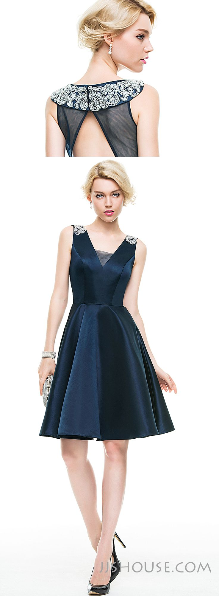 This A-line V-neck knee-length satin dress with beading is an unforgettably stylish choice for this year's Homecoming. #JJsHouse