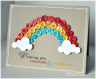 Wishing you rainbows and sunshine: buttons! #buttons #rainbow #simple