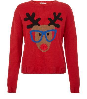Teens Red Geek Reindeer Jumper