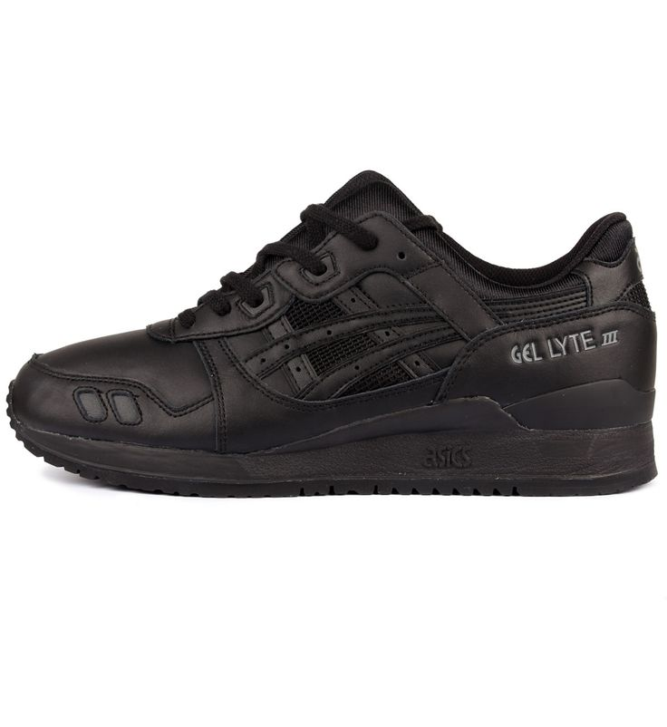 ASICS Gel Lyte III Black / Black - ASICS The ASICS Gel Lyte III Triple Black is presented in a leather/mesh upper with detailing throughout, a split tongue, padded collar and cushioned sole.