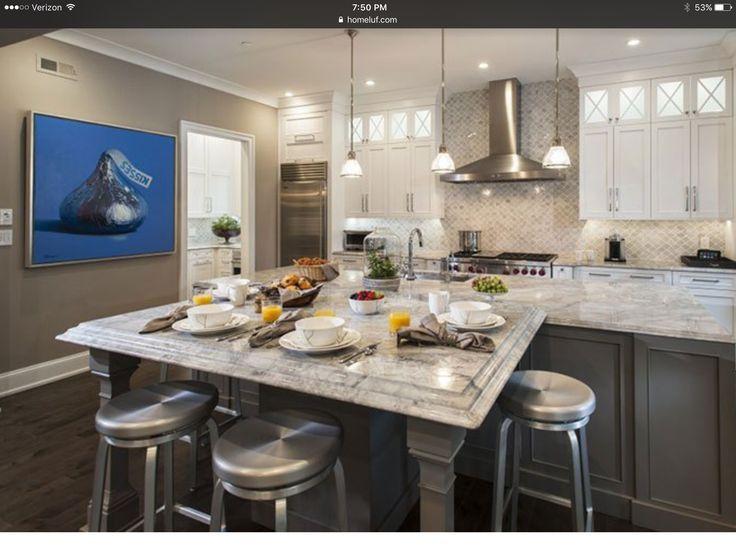 Popular Tr umen K chen K che Umbau K che Designs K che Ideen Quarz arbeitsplatten Tr umen H user Blue Painting Beautiful Kitchens Kitchen Decor