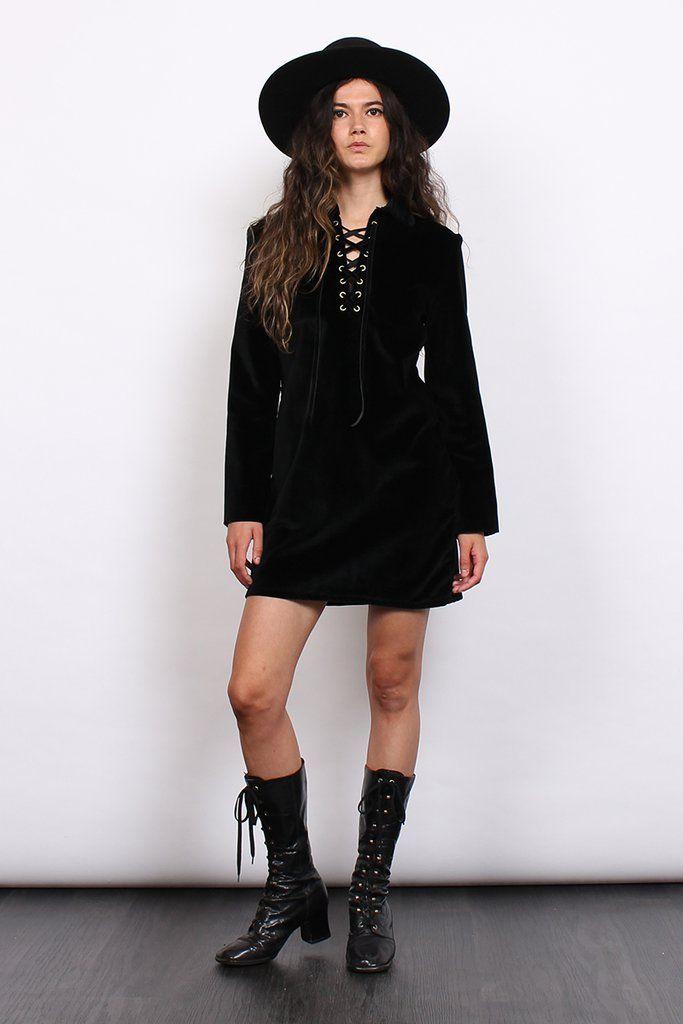 Vintage 70s Black Velvet Lace Up Collar Mini Dress