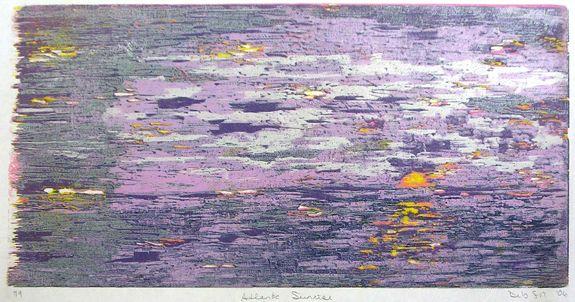 Atlantic Sunrise, Reduction Woodcut, 12in x 24in