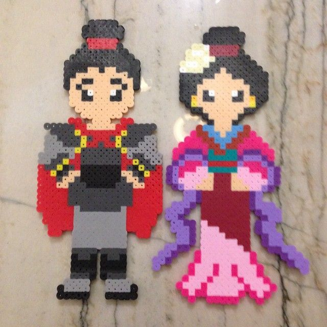 Mulan and Shang  perler beads by plur_warrior_armor