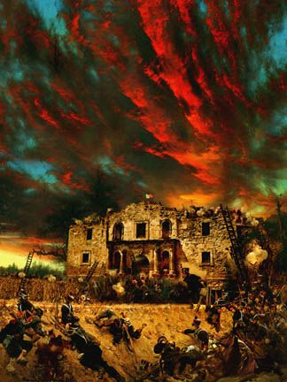 """Feb. 23, 1836. The siege of """"The Alamo"""" by the Mexican Army under the command of General Santa Anna, begins in San Antonio, Texas. Exactly 11 years later, U.S. troops under General Zachary Taylor defeat  Santa Anna at the Battle of Buena Vista in Mexico."""