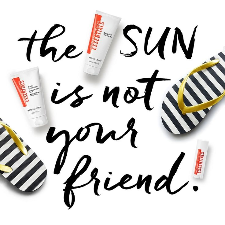 The sun is damaging to our skin and makes us age faster. Protect your skin with sunscreen. All Rodan and Fields Regimens end with products that contain SPF to prevent damage to your skin. Also, Rodan and Fields has an essential full body sunscreen for those summer months!